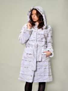 BLUE SCULPTURED MINK 7/8 COAT