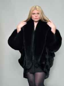 BLACK SCULPTURED MINK CAPE/JACKET