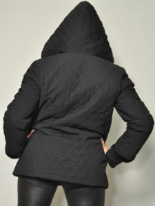 REVERSIBLE BLACK NUTRIA JACKET w/ HOOD