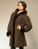 BROWN SHEARLING 7/8 COAT