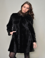 BLACK CHINESE MINK 7/8 COAT