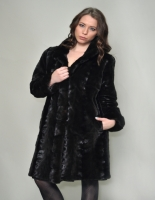 BROWN SCULPTURED MINK 7/8 COAT