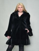 NAVY SHEARED MINK 7/8 coat