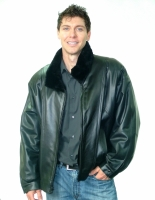 BLACK SHEARED BEAVER LEATHER JACKET