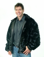 BLACK SHEARED MINK HEAD SECTION JACKET