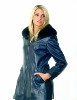 NAVY SINTRA LEATHER JACKET