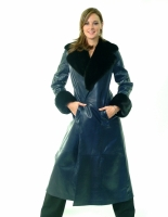 NAVY SINTRA LEATHER COAT