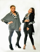 BLACK OR GRAY CASHMERE STOLE